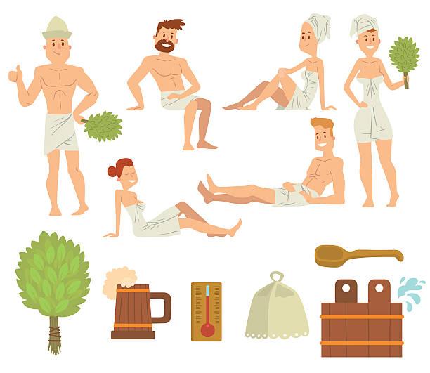 stockillustraties, clipart, cartoons en iconen met young couple relaxing in spa health care concept bath people - sauna