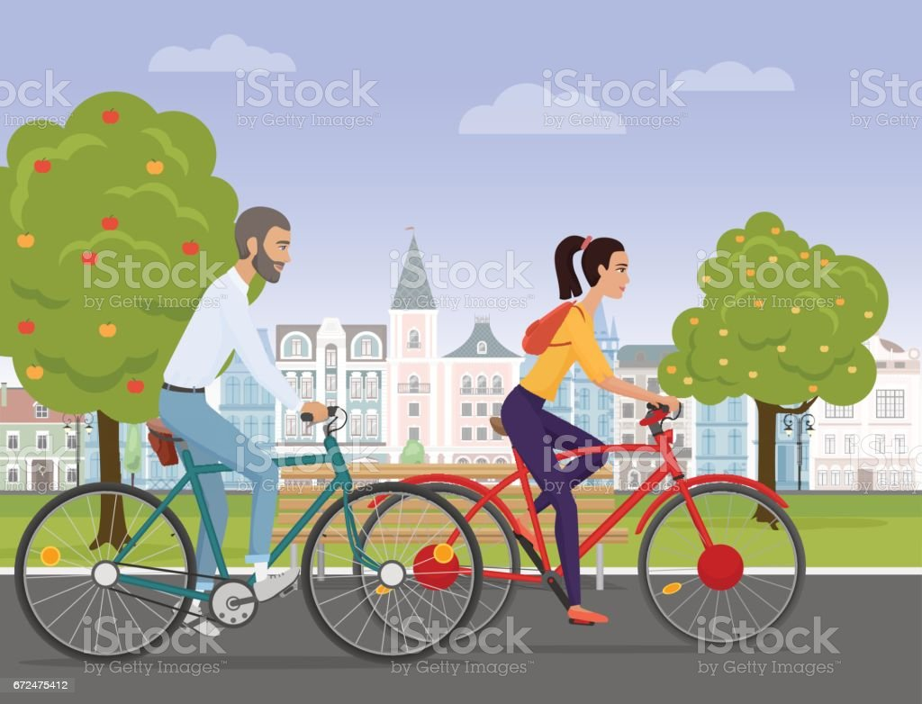 Young couple riding a sport bikes on a park road on the old city background. People bicycle Vector illustration. vector art illustration