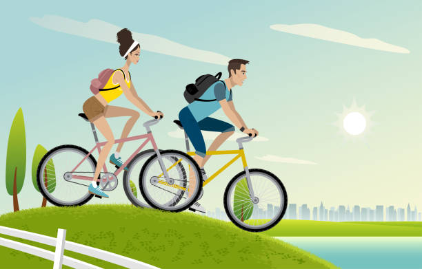 Young couple riding bikes Young man and woman on bicycles riding outdoors. young couple stock illustrations