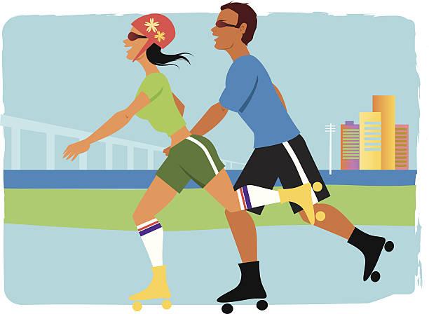 ilustrações de stock, clip art, desenhos animados e ícones de casal jovem patinagem sobre rodas no parque - young woman running city