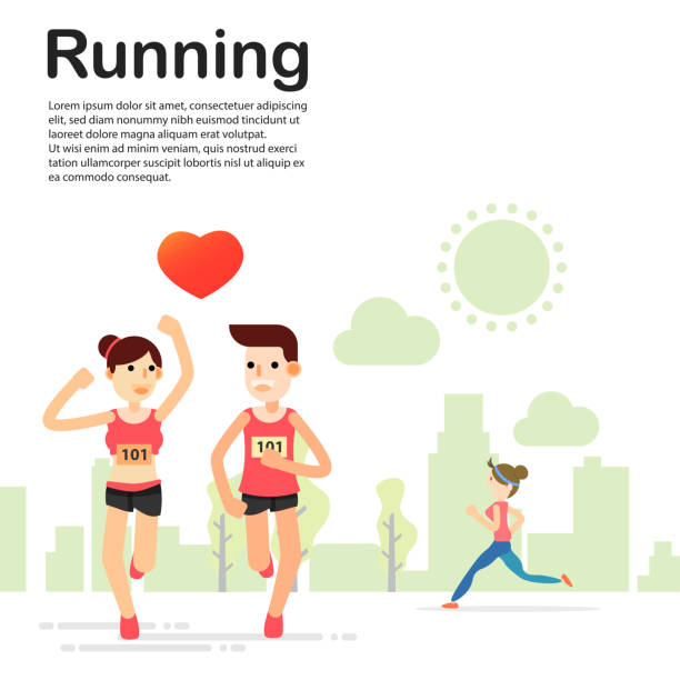 ilustrações de stock, clip art, desenhos animados e ícones de young couple running and training for marathon sport in the park - young woman running city