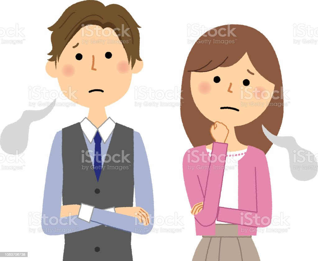 Young couple, Sigh vector art illustration
