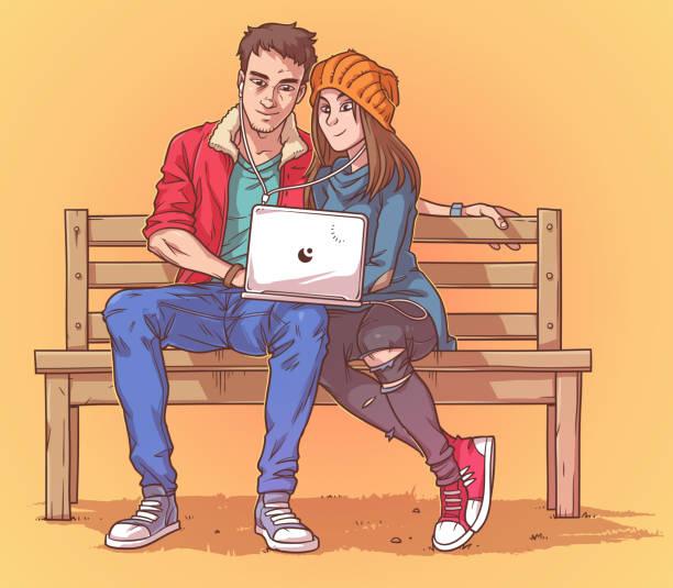 illustrazioni stock, clip art, cartoni animati e icone di tendenza di young couple sitting on a bench and listen to music - compagni scuola