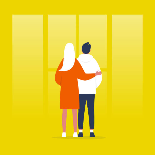 Young couple standing in front of the window. Relationships. Hugging partners. Love. Flat editable vector illustration, clip art Young couple standing in front of the window. Relationships. Hugging partners. Love. Flat editable vector illustration, clip art love emotion stock illustrations