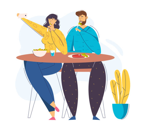 Young Couple Taking Photo Selfie with Food on Cell Phone. Female Blogger Character Photographing Lunch in Cafe. Man and Woman in Restaurant. Vector flat cartoon illustration Young Couple Taking Photo Selfie with Food on Cell Phone. Female Blogger Character Photographing Lunch in Cafe. Man and Woman in Restaurant. Vector flat cartoon illustration human body part stock illustrations