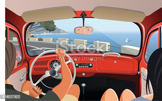 Young couple tavelling on coast road in retro car
