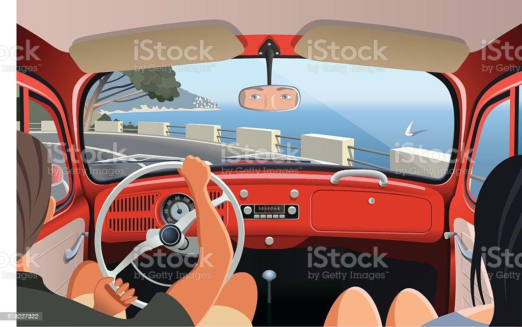 Junges Paar nur auf der Küste Straße in Retro Auto – Vektorgrafik