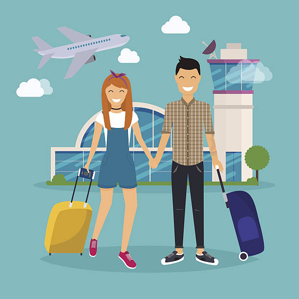 young couple traveling with travel bag, holding passport - business casual fashion stock illustrations