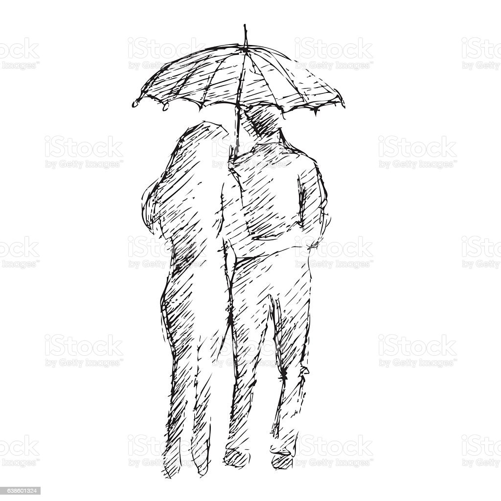 Young Couple Under An Umbrella In The Rain Stock Vector
