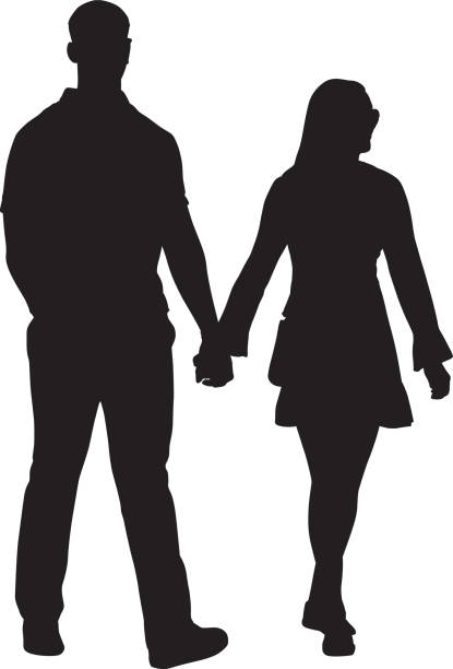 Young Couple Walking Hand In Hand Young Couple Walking Hand In Hand silhoute. young couple stock illustrations