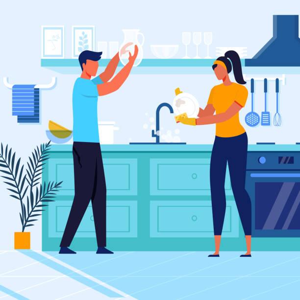 stockillustraties, clipart, cartoons en iconen met jong stel wasmachine servies vector illustratie - vrouw schoonmaken