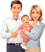 Portrait of a young couple with their baby, isolated on white. EPS 8, fully editable and labeled in layers.
