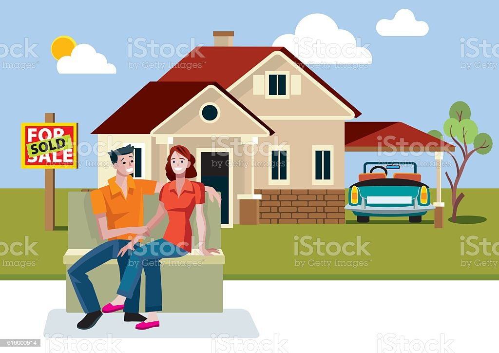 Young Couple with New House vector art illustration