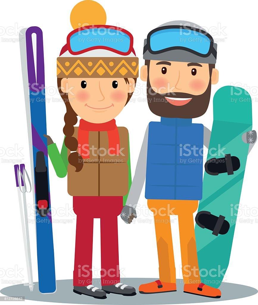 若いカップルはスキーとスノーボード のイラスト素材 512725542 | istock
