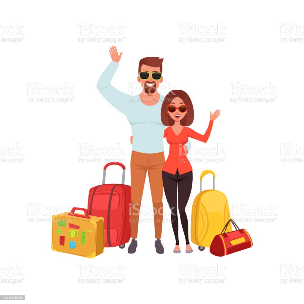 Young couple with travel bags waving hands, people traveling together during summer vacation vector Illustration on a white background - Royalty-free Adult stock vector