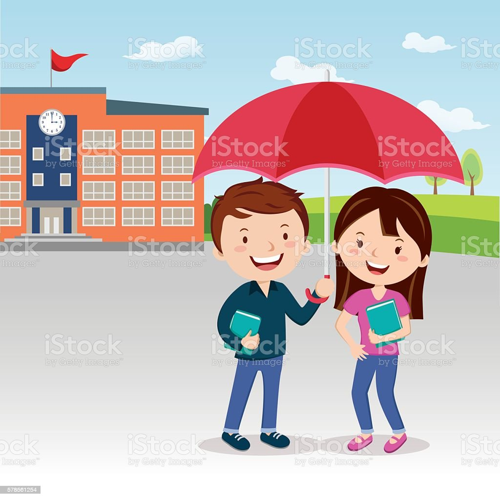 Young couple with umbrella vector art illustration