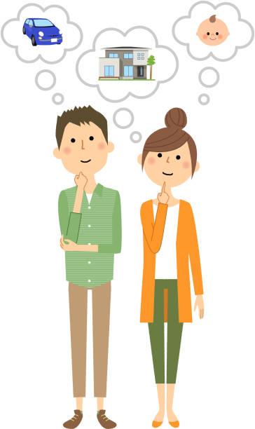 若いカップルは、人生の計画 - 夫婦点のイラスト素材/クリップアート素材/マンガ素材/アイコン素材