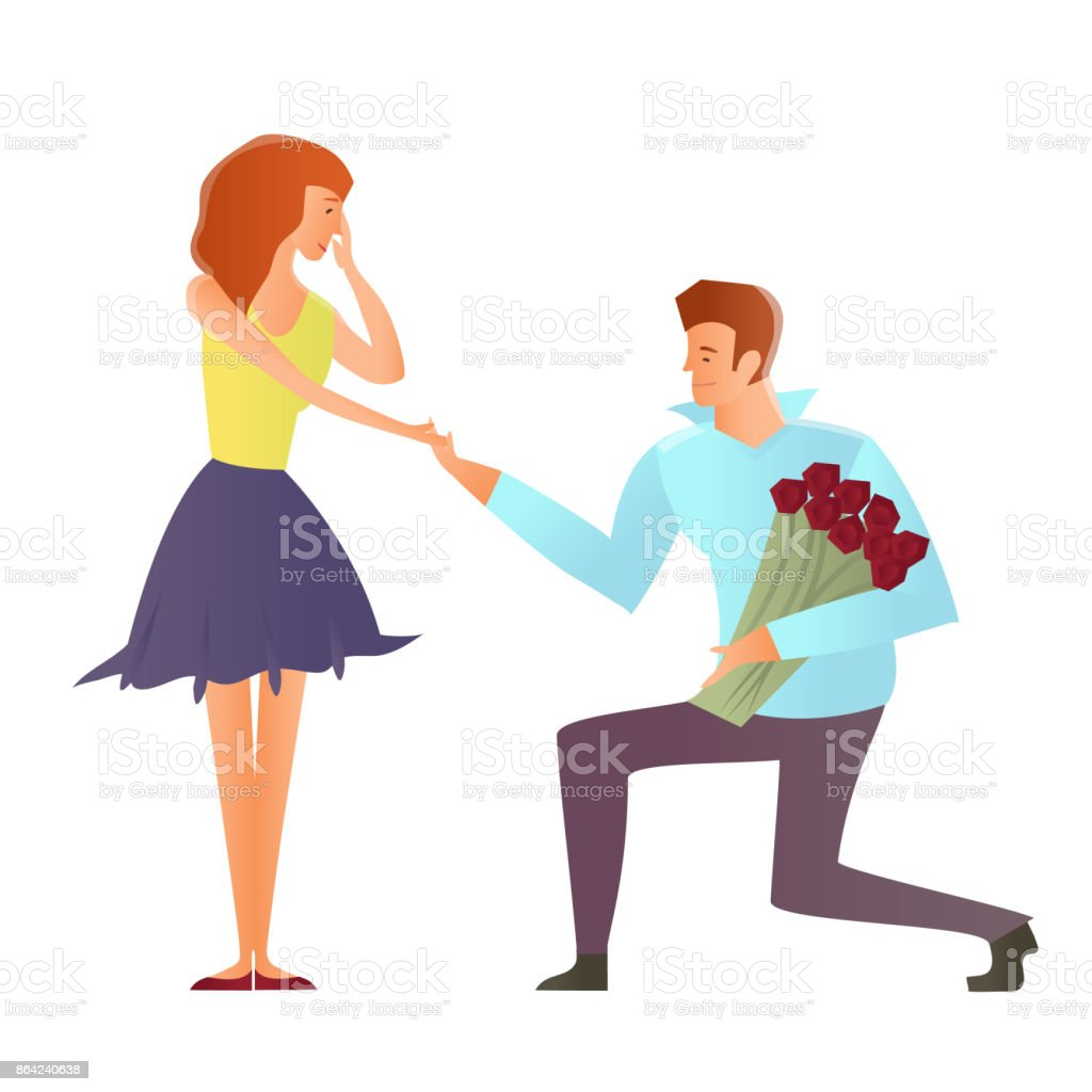 Young couples in love. Man makes a proposal to his girlfriend, kneeling. Vector Illustration, isolated on white background. royalty-free young couples in love man makes a proposal to his girlfriend kneeling vector illustration isolated on white background stock vector art & more images of 20-29 years