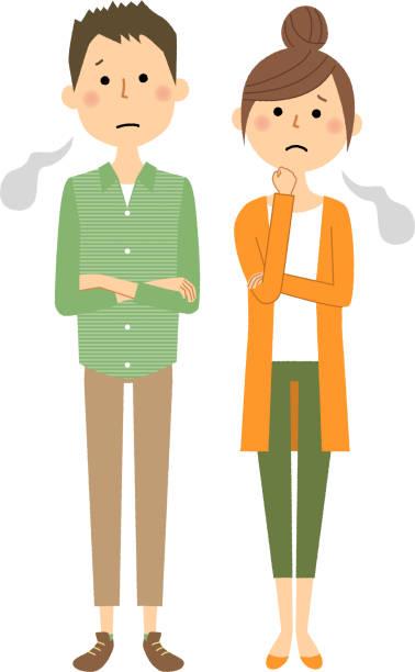 若いカップルは、ため息をつく - 夫婦点のイラスト素材/クリップアート素材/マンガ素材/アイコン素材