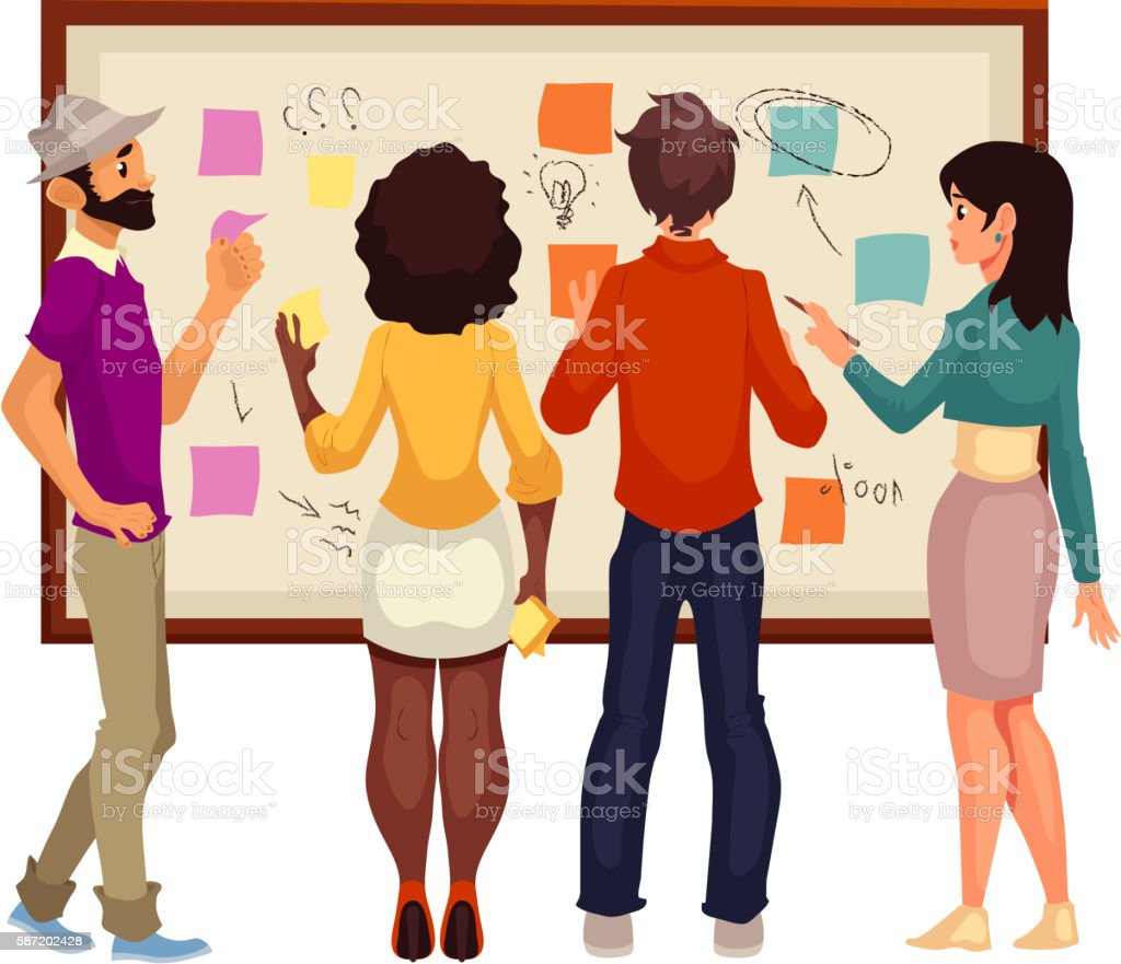 Young creative business people brainstorming ideas at the board vector art illustration