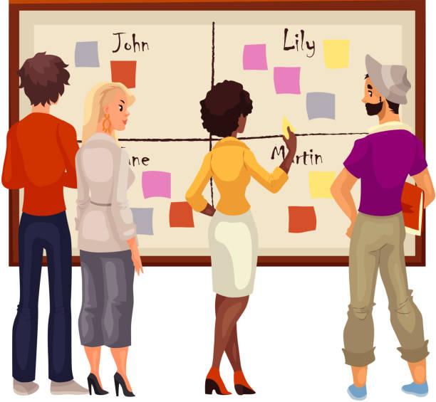 illustrazioni stock, clip art, cartoni animati e icone di tendenza di young creative business people brainstorming ideas at the board - focus group