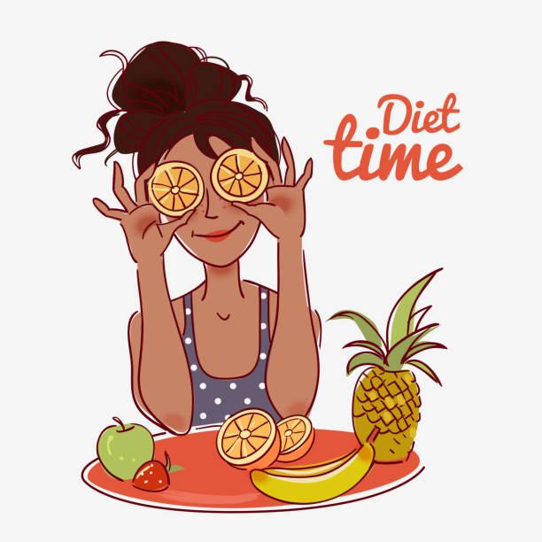 ilustrações, clipart, desenhos animados e ícones de jovem, bonita mulher segurando laranja fatias diante dos olhos - fruit salad