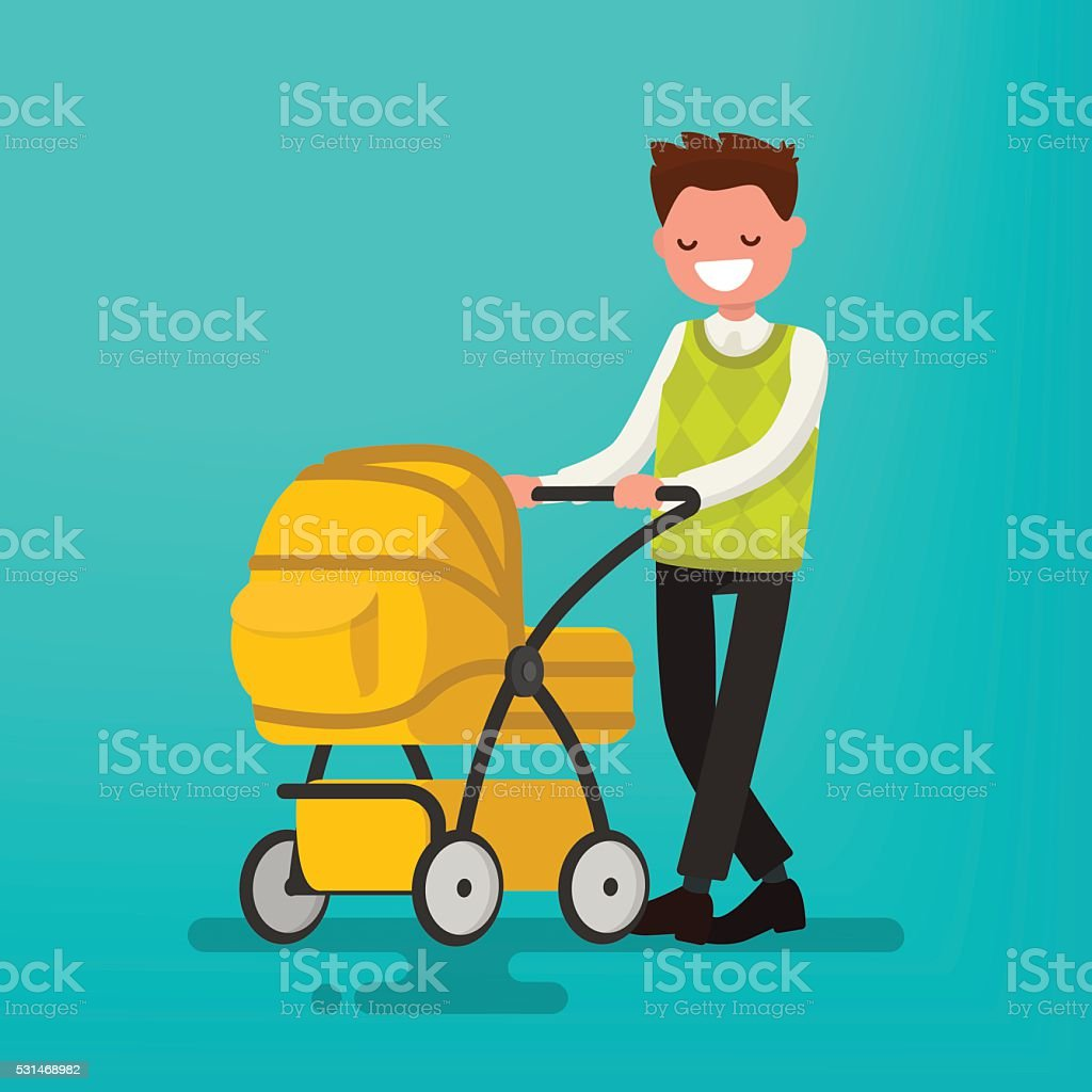 Young dad walking with a newborn that is in  stroller. vector art illustration