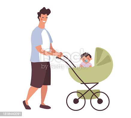 A young daddy walks with a baby in a stroller. A man with a newborn son on a walk in a baby carriage. Flat character design isolated on white background.