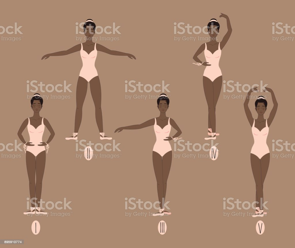 Young dancer shows the five basic ballet and dance positions, with correct placement of arms, legs and feet vector art illustration