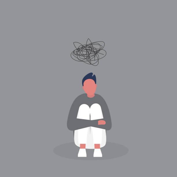 junge depressive männliche charakter umarmt seine knie. stadien der trauer. emotionale probleme. selbstmordgedanken. geisteszustand. modernes leben der millennials. graue farben. - besorgt stock-grafiken, -clipart, -cartoons und -symbole
