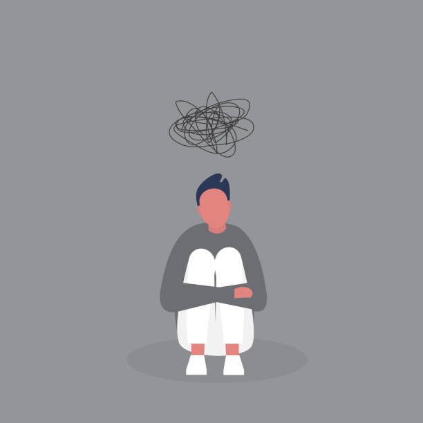 Young depressed male character hugging his knees. Stages of grief. Emotional problems. Suicidal thoughts. Mental health. Modern life of millennials. Grey colours. Young depressed male character hugging his knees. Stages of grief. Emotional problems. Suicidal thoughts. Mental health. Modern life of millennials. Grey colours. desolation stock illustrations