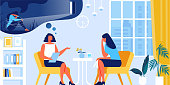 Young Depressed Woman at Psychologist Appointment. Private Meeting with Client in Recreational Room. Doctor, Specialist Talking with Patient about Mind Health Problem. Cartoon Flat Vector Illustration