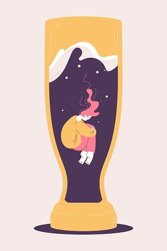Young depressed woman drowning into beer glass. Concept illustration about alcoholism and heavy drinking