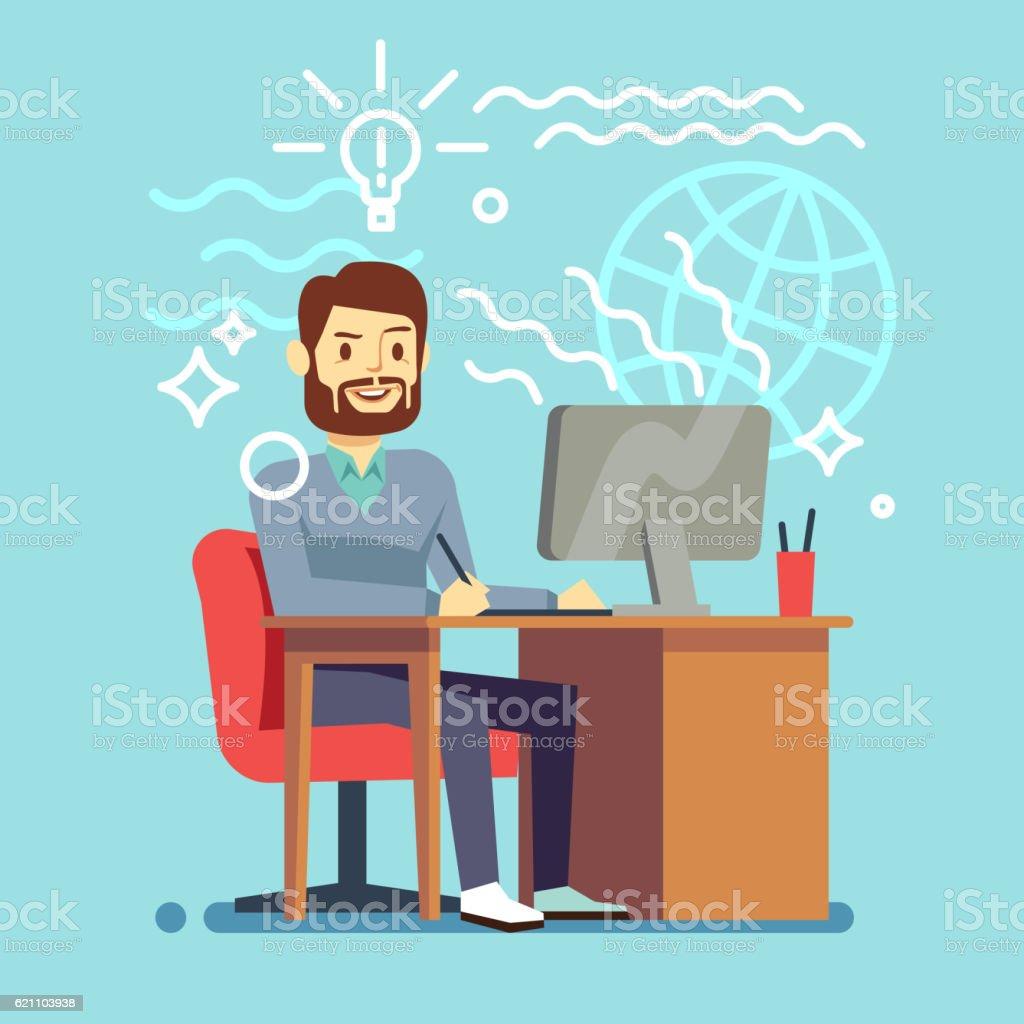 Young designer man working at computer. vector creative process concept vector art illustration