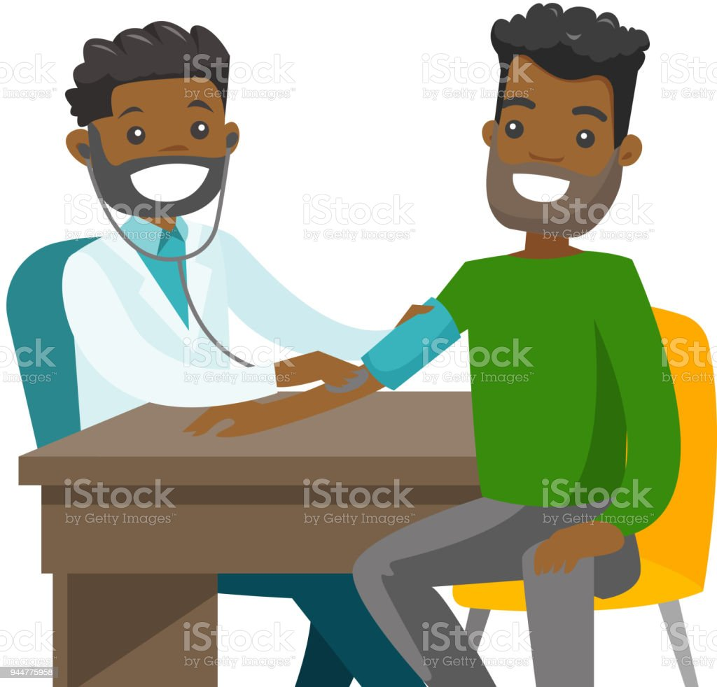 Young doctor measuring blood pressure of patient vector art illustration