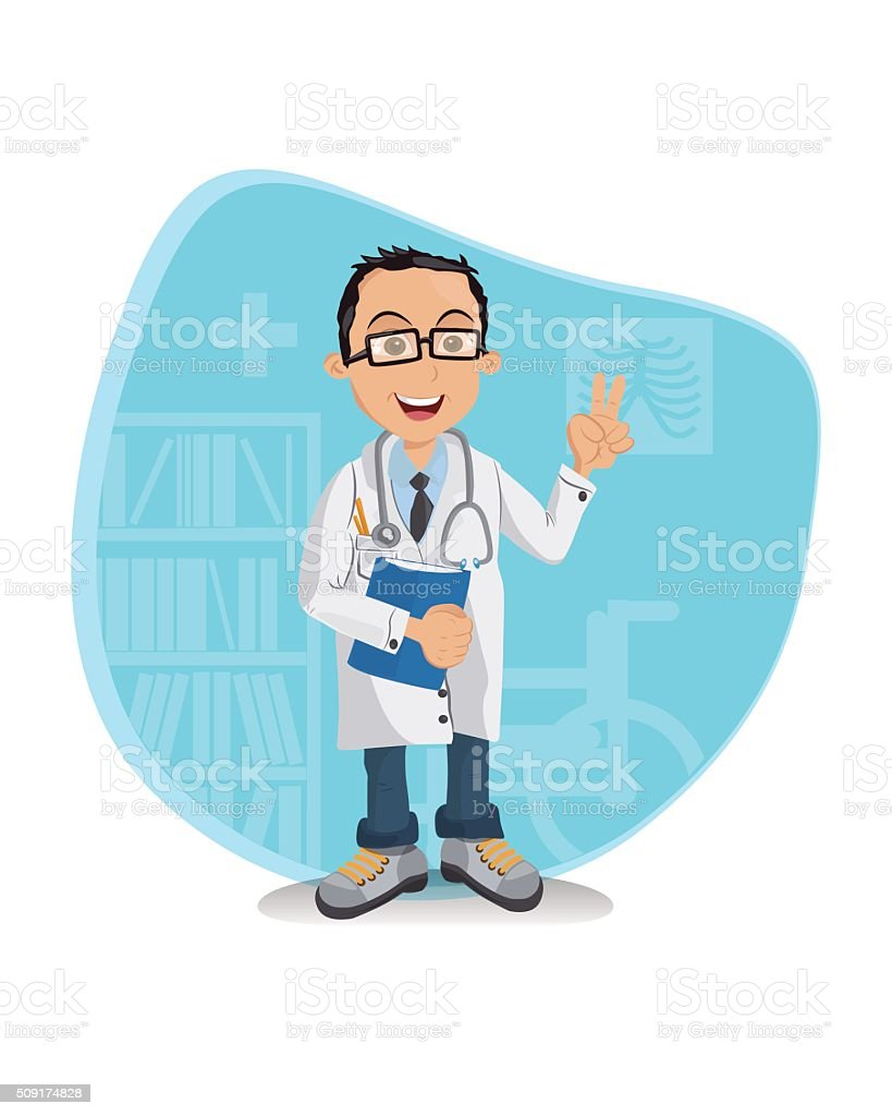Young Doctor vector art illustration