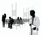A vector silhouette illustration of a clinic waiting room with a male doctor calling out a name to a buiness man sitting with a mazazine and a young mother holding her baby.