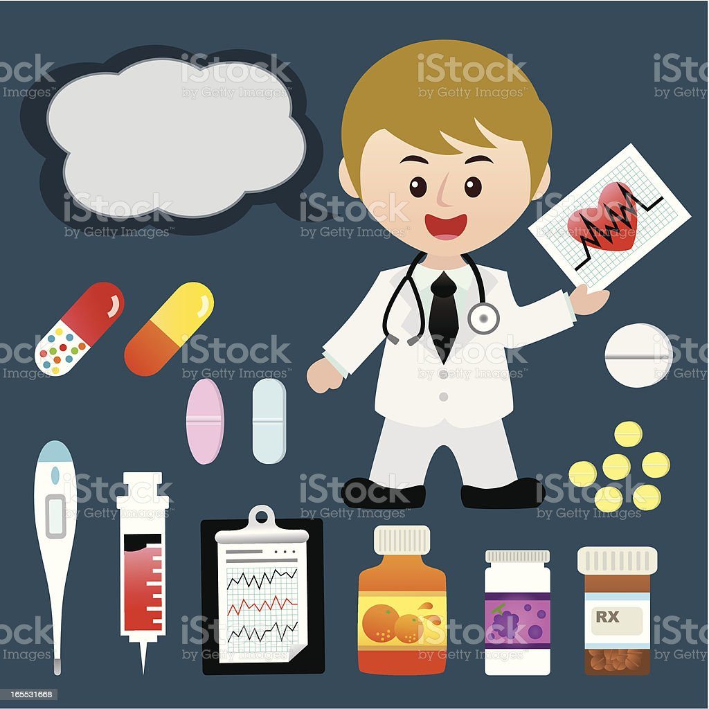 young doctor with medical items royalty-free stock vector art