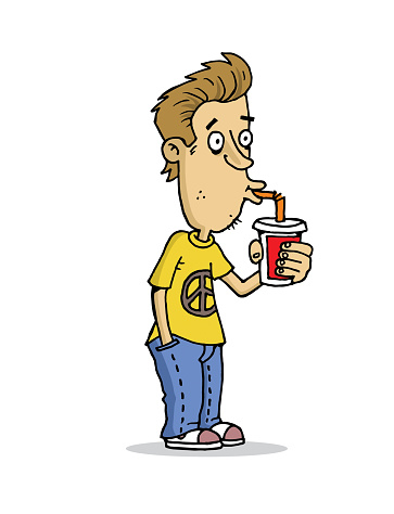 Young drinking coke with a straw