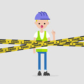 Young engineer wearing a hard hat and a reflecting vest. Caution. Danger yellow tape. Industrial illustration. Flat vector illustration, clip art.