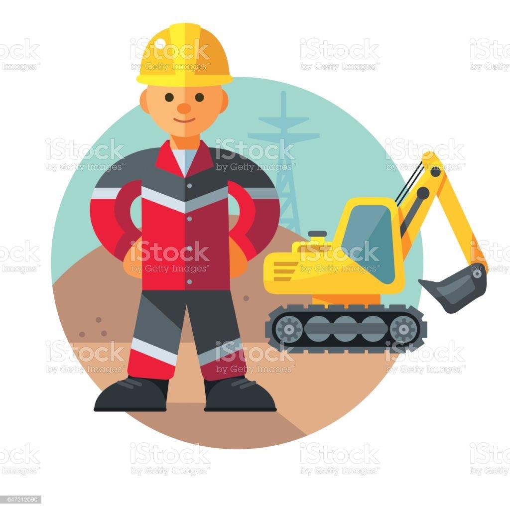 Young Excavator operator next to the excavator vector art illustration