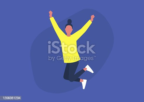 istock Young excited female character jumping and expressing positive emotions, having fun, good vibe 1206351234
