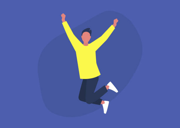 stockillustraties, clipart, cartoons en iconen met jong opgewekt mannelijk karakter dat en positieve emoties uitdrukt, dat pret, goede vibe heeft - alleen één jonge man