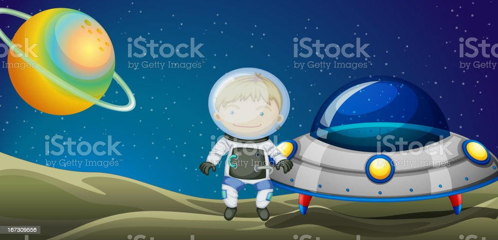 Young explorer beside the spaceship royalty-free stock vector art