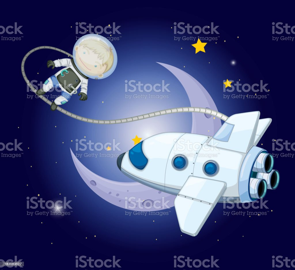 young explorer near the moon royalty-free stock vector art