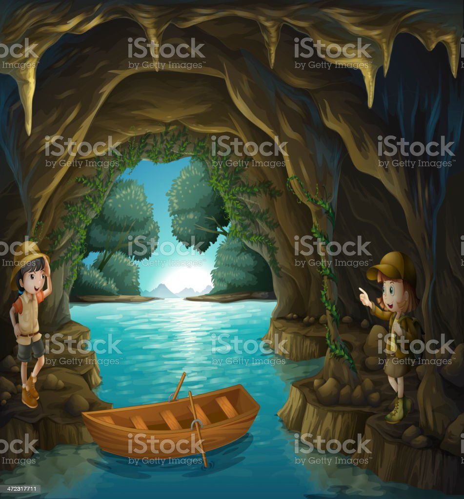Young explorers inside the cave royalty-free stock vector art