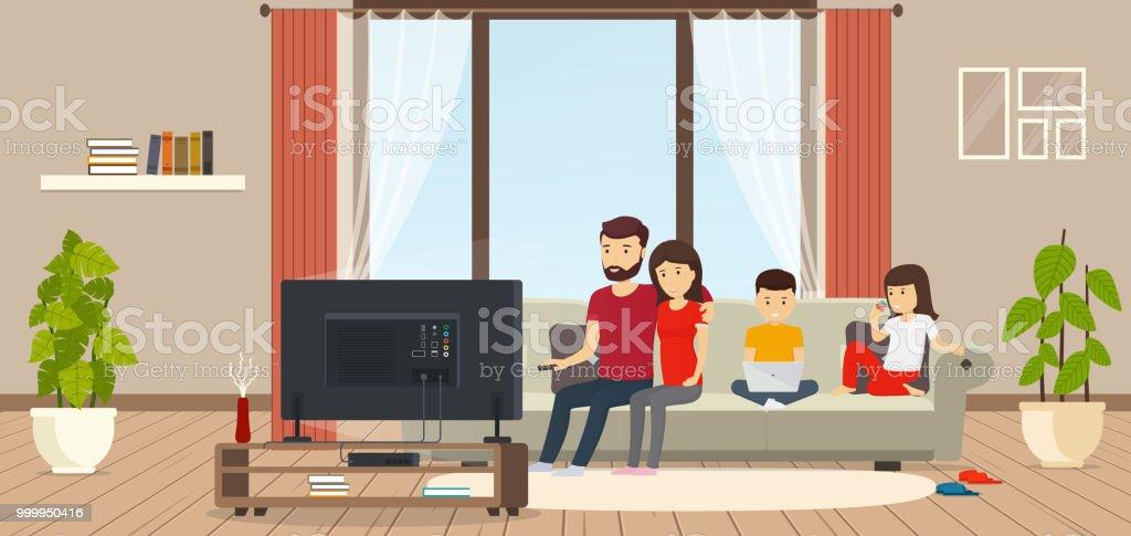 Junge Familie Zu Hause Sitzen Auf Couch Vor Dem Fernseher Kind