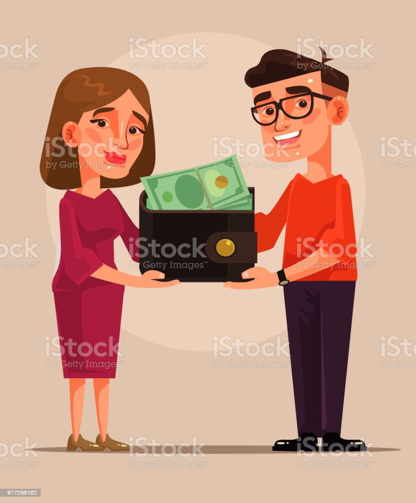 Young family budget vector art illustration