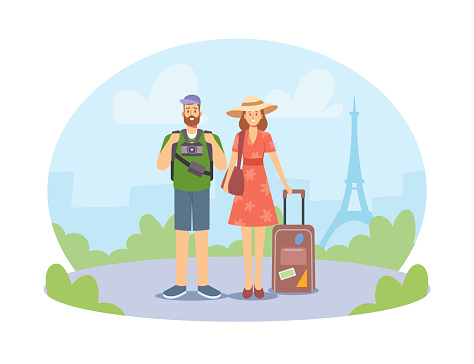 Young Family Couple Traveling, Male and Female Characters Abroad with Photo Camera and Bags. Summer Travel, France Trip