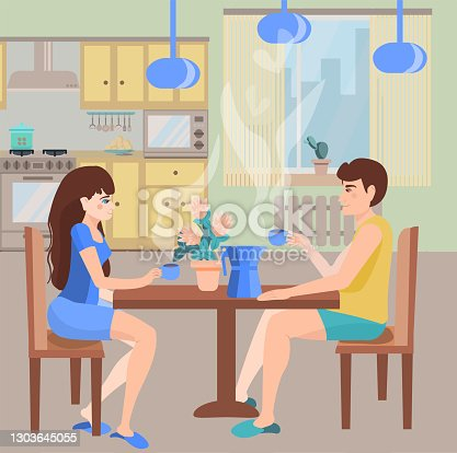 istock Young family drinks coffee in the dining room. The concept of a family breakfast in a cozy kitchen. Illustration of the kitchen interior with a man and a woman over a cup of coffee in a flat style. 1303645055